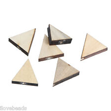 30PCs Natural Colour Triangle Shape Wood Beads Wooden Beads Findings DIY