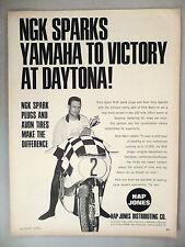 NGK Motorcycle Spark Plugs PRINT AD - 1965 ~~ Dick Mann, Avon Tires