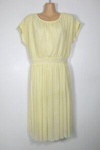 GREAT PLAINS pastel lemon yellow retro flared micro-pleated tunic dress, S/10-12