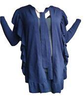 ULLA Johnson Womens Long Ruffled Blue Cardigan With Ribbon Trim Size XS Petite