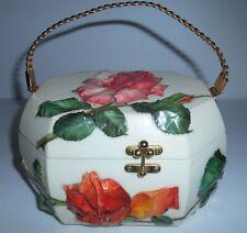 Vintage V. Di Rienzi 3-D Floral Decoupage Purse Style Jewelry Trinket Box