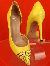 NIB GUCCI COLINE YELLOW LEMON LEATHER SILVER STUDDED D'ORSAY PUMPS 38 8 #370491
