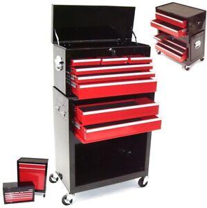Chariot à 8 outils Servante d'atelier 06197 rouge coffre malle rangement amovibl