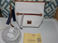 NEW NWT DOONEY & BOURKE WHITE TAN PEBBLED LEATHER MESSENGER SHOULDER BAG $198