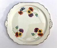 "Vintage Mid Century American Pansy Flowers 12"" Cake Plate Platter Silver Rim"