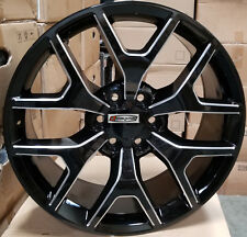 26 GMC Sierra Replica Wheels Black Milled Rims Silverado Yukon Denali Chevy