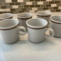 Set Of 6 VINTAGE AUTUMN COLLECTION STONEWARE MADE IN JAPAN COFFEE CUP MUG BROWN