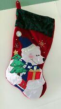 NWOT NEW Red Velvet Green Trim CHRISTMAS STOCKING Embroidered Polar Bear Tree