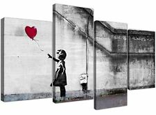 EXTRA LARGE Banksy stampe su tela Balloon Girl 130cm XL RED | Set 4050