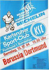Karlsruher SC KSC Borussia Dortmund 1. Bundesliga 15. Oktober 1994 Plakat