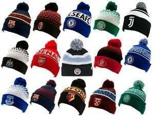 Football Team Knitted Cuff Bobble Hat Up Turn Winter New Official Soccer