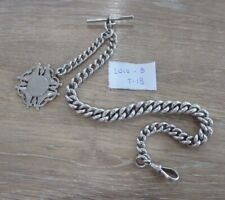 QUALITY ANTIQUE CHUNKY SOLID SILVER SINGLE ALBERT POCKET WATCH CHAIN WITH FOB