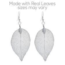 Genuine Natural Real Leaf Dipped Silver Tone Drop Dangle Women Fashion Earrings