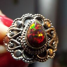 * FIRE OPAL RING * in .925 Sterling Silver Ornate Setting, Size 7