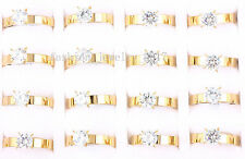 Wholesale Lots 5Pcs 4MM Crystal Stainless Steel 18K Gold Rings Band Wedding Gift