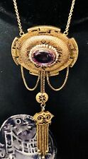 Antique Victorian 18k Gold Enamel Amethyst Seed Pearl Lavaliere Necklace Pendant