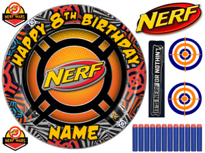 """NERF INSPIRED  6"""" TO A3 SHEET PERSONALISED CAKE EDIBLE ICING TOPPER"""