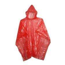 Adulte Poncho Pluie Rouge Plastique Imperméable Jetable Chapeau de Capuche Dames