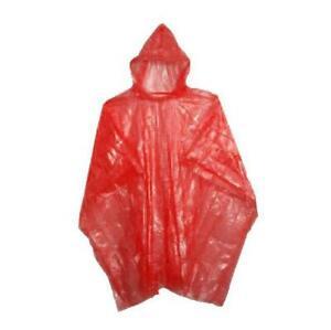 Adulte Poncho Pluie Rouge Imperméable Plastique Jetable Chapeau Hood Femmes Mens