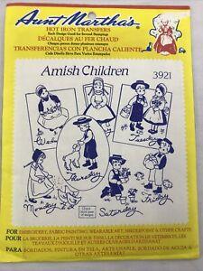 VTG Aunt Martha's Amish Children Transfer Pattern 3921 Unopened