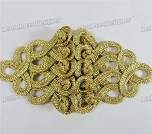 Golden hand Cheongsam braid Sewing Button Closure deco Frogging Chinese Knot 1pc