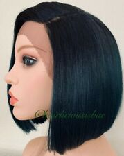 "green bob wig Lace Front Straight  Ombre Black 10"" Short Heat Resistance Ok"
