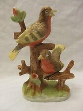 """VINTAGE BIRD PERCHED PORCELAIN FIGURINE 7"""" TALL RED BELLY"""