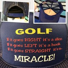 NOS Vtg Novelty GOLF SLICE HOOK STRAIGHT MIRACLE Trucker Mesh Snapback Hat