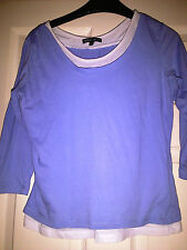 LADIES BLUE AND WHITE TOP SIZE SMALL 3/4 LENGTH SLEEVE