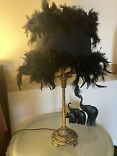Boudior Antique Gold Gilded Table Lamp Feather Lamp Shade Burlesque