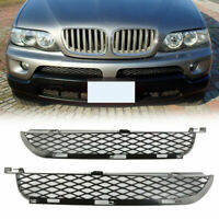 Pair Front Upper Bumper Outlet Mesh Lower Grille Grill For BMW X5 E53 2003-2006