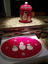 Snowman cookie jar and platter, Christmas, ceramic, hallmark, nib