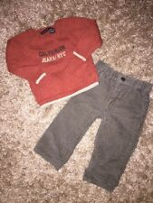 CALVIN KLEIN Baby Boys Orange Sweater & Olive Green Corduroy Pants (EUC) - 12M