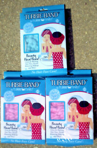 LOT of 3 TURBIE BAND by TURBIE TWIST BEAUTY HEAD BAND 2 PINK & 1 LIGHT BLUE NEW
