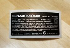1 Nintendo Game Boy Color SPECIAL PIKACHU EDITION Console **STICKER LABEL ONLY**