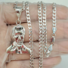 "925 sterling Jesus Malverde narco pendant 24"" Chain"