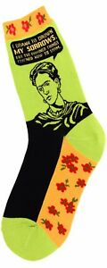 Foot Traffic Cotton Blend Lime Green Orange Frida Quote Womans Crew Socks New