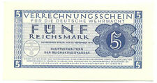 Germany Wehrmacht Clearing Note for German Armed Forces 5 Reichsmark 1944 UNC