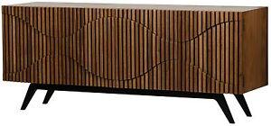 "78"" W Sideboard Dark Walnut Solid Wood Ripple Detail Black Iron Base"