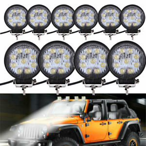 10Pcs Work Light Bar Round 4WD Offroad SPOT Fog For ATV SUV Tractor Driving Lamp