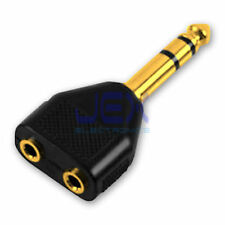"2-way Headphone Audio Splitter 1/4"" 6.35mm to 1/8"" 3.5mm Stereo Jack Gold Plated"