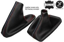ROSSO CUCITURE CARBON VINILE CUFFIA LEVA E FRENO PER BMW E90 E91 E92 E93 M///