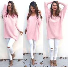 Womens Long Sleeve Sweater Blouse Ladies Sweatshirt Dress Jumper Pullover Tops