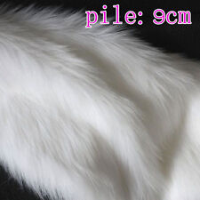 White SHAGGY FAUX FUR FABRIC LONG PILE FUR costumes Photographic backdrops BTY