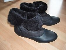 UK 3 SCHUH BLACK ANKLE BOOTS FAUX LEATHER SUEDE  BUCKLES RUBBER SOLES