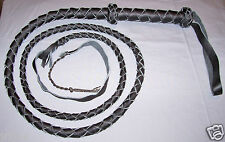 6 foot 4 plait BLACK  INDIANA Jones Real Leather BULLWHIP with popper