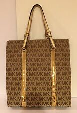 Michael Kors Sequin Stripes Purse Tote Bag Handbag Brown Gold NWT $228