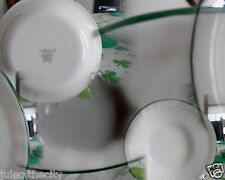 """Callaway Ivy Cereal Soup Salad Bowls 7"""" Corelle Glass White Green Swirls !"""