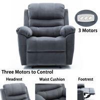 High End 3 Motors Power Recliner Chair Vevelt Fabric Padded Arm Overstuffed Sofa