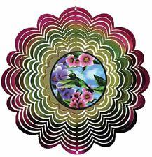 "Holographic Hummingbird Wind Spinner New Zephyr Spiral 12"" Steel Flowers Pink"